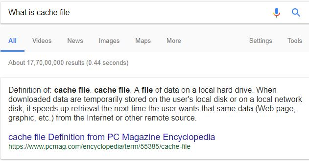 what is cache file
