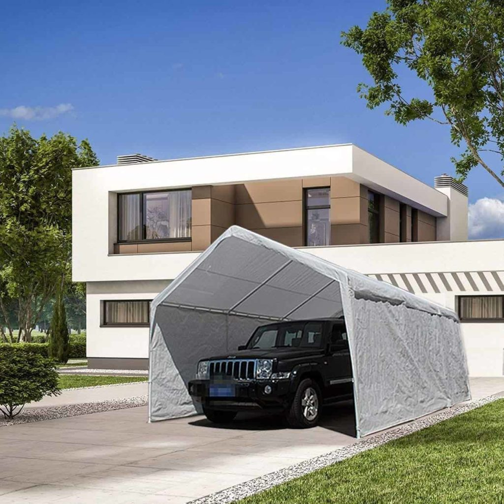Abba Patio 12 x 20-Feet Heavy Duty Carport, Car Canopy Shelter with Removable Side Panels, Doors and 8 Steel Legs, White